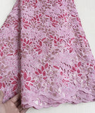 Pink  5 yards Hand cut lace fabric, African organza lace with lots of sequins, high quality
