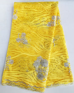 Yellow 5 yards ripple embroidery African french lace, Nigerian tulle lace fabric