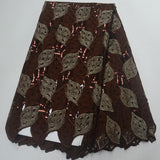 Chocolate 5 yards High quality hand cut African lace fabric with sequins and stones