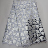 White 5 yards High quality hand cut African organza lace fabric sequin embroidery