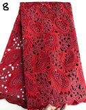 Red 5 yards Hand cut African lace fabric beautiful Nigeria garment sewing lace fabric with lots of stones