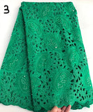 Green 5 yards Hand cut African lace fabric beautiful Nigeria garment sewing lace fabric with lots of stones