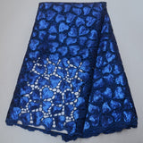 Blue 5 yards High quality hand cut African organza lace fabric sequin embroidery