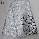 5 yards High quality hand cut African organza lace fabric sequin embroidery