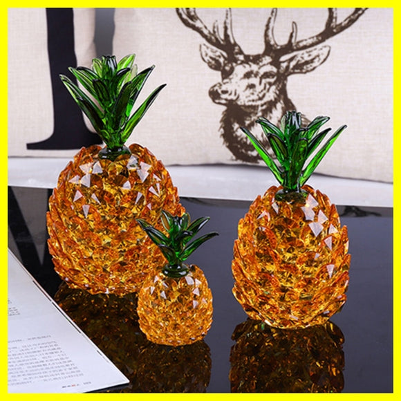 High-grade Crystal Pineapple Crafts Glass Paperweight Fengshui Figurine Home Decoration