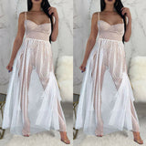 Women's Summer Boho Short Maxi Dress, Sheer Sleeveless Solid High Waist Evening Sundress