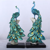Resin Golden Peacock Ornaments, Miniature Figurines, Desktop Home Decor