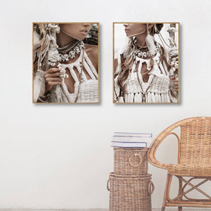 Indian Woman Nordic Poster Girl Wall Art Canvas Painting Wall Pictures For Living Room