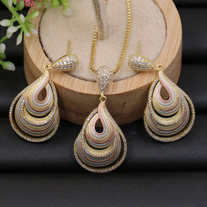 Jewelry Set Stylish Delicate Water Drop Zircon Necklace with Earrings