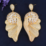 Luxury Paved Full AAA CZ Chic Pendant Big Drop Earring boucle d'oreille femme
