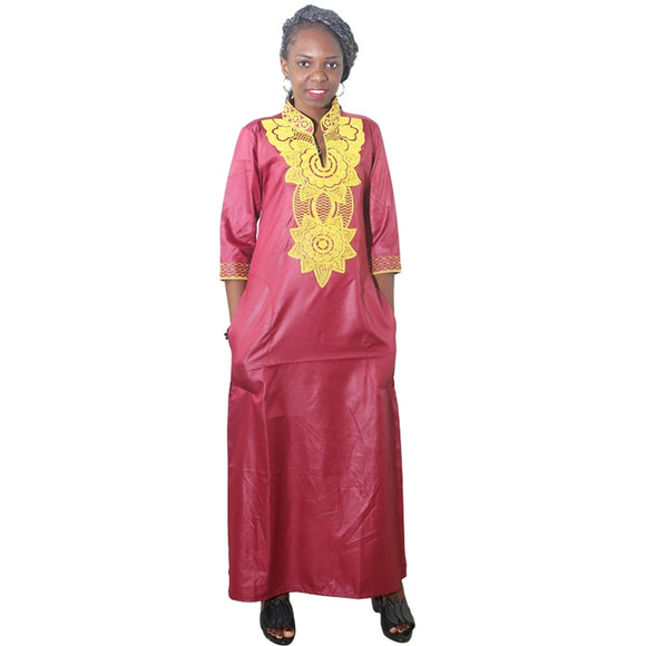 African dress for women embroidery flower maxi dresses traditional African clothes