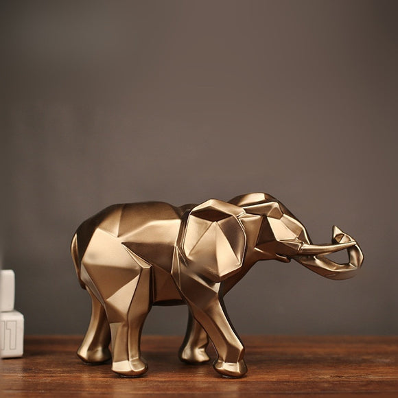 Modern Abstract Golden Elephant Statue Resin Ornament Home Decoration Accessories Gifts