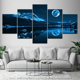 Modern Decoration Home Wall Art Modular Pictures Canvas 5 Pieces Abstract Blue Moon Night Scene