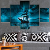 Modular Picture HD Printed Modern Painting Wall Art 5 Panel Pirate Ship Home Decoration