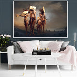 Native Indian Famliy with Mask Fantasy Portrait Canvas Art Scandinavian Posters and Prints