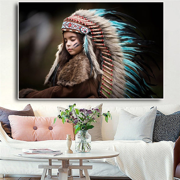 Native Indian Feather Kids Portrait Canvas Posters and Prints for Living Room