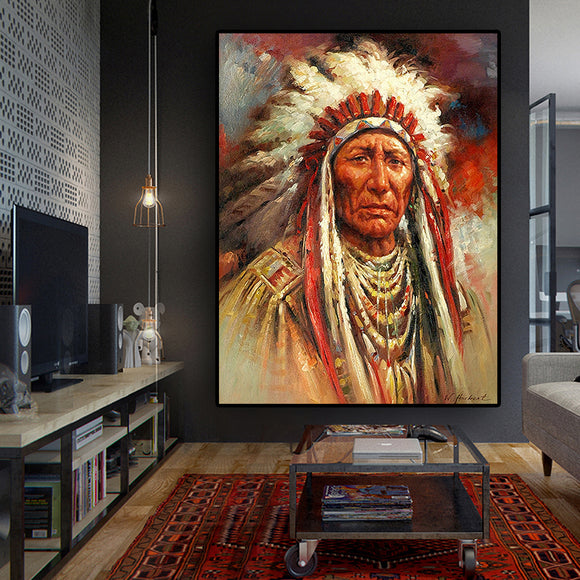 Native Indian Feather Portrait Oil Painting on Canvas Posters and Prints