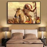 Native Indian Feathered Horse Oil Painting on Canvas Posters and Prints