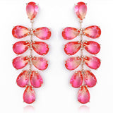 Shining radiant Tourmaline Drop Earring Luxury Crystal AAA Cubic Zirconia Leaf Shape Design Long Earrings