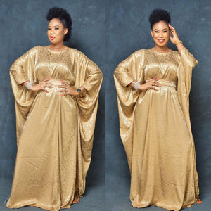 African Dashiki Fashion Silk jacquard fabric abaya Loose Long dress and belt  free size length 150cm