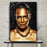 African Art Black Gold Woman Oil Painting on Canvas Posters and Prints for Living Room