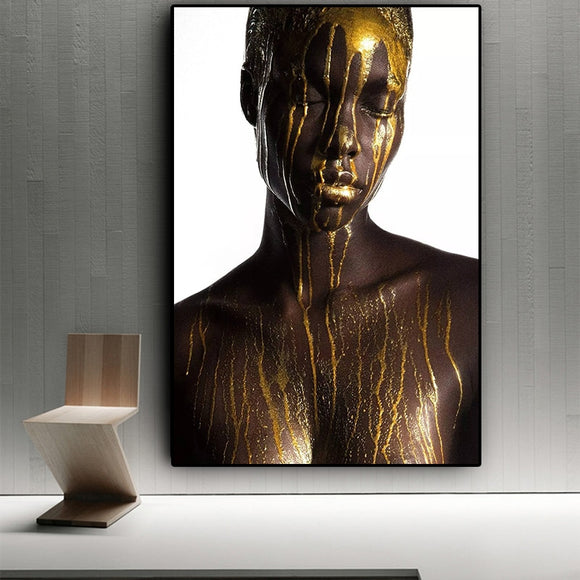 Nude African Black and Gold  Woman Oil Painting on Canvas Cuadros Posters and Prints