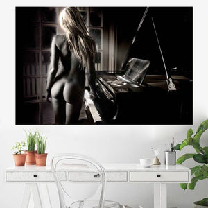 Nude Girl with Piano Canvas Print Painting Modern Black and White Sexy Women Artwork