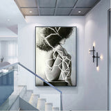 Printing Art Canvas Paintings Poster, Black and white nude female for bedroom Room Wall