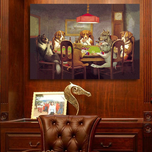 Oil Painting Wall Art Canvas Prints Dogs Playing Poker no Framed Animal Wall Pictures for Living Room Posters and Prints