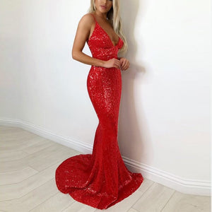 RED V Neck Padded Full Lining Stretch Sequin Party Dress Backless Floor Length