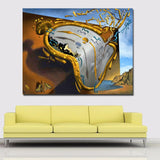 Post-Modern Abstract Art Clock Canvas Printed Art Painting For Living Room Decor
