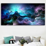 Wall Art Canvas Painting Abstract For Living Room Colorful Unreal Clouds No Frame
