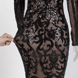 Sequined Maxi Dress Long Sleeved O Neck Gold Black Stretch Party Dress Floor Length
