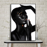 African Nude Woman with Red Nails Oil Painting on Canvas Cuadros Posters and Prints