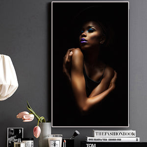 Sexy Black Nude African Woman Portrait Canvas Painting Posters and Prints Scandinavian Wall Art