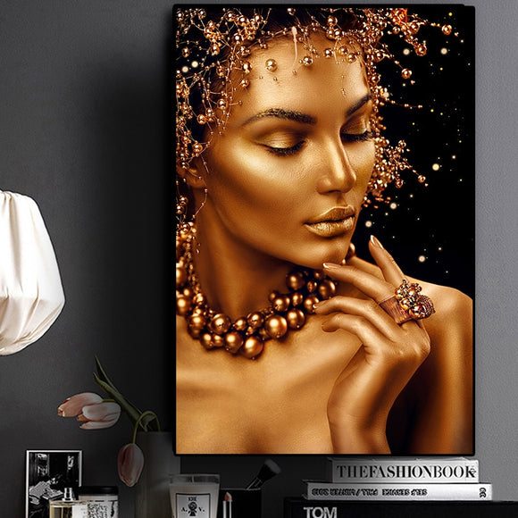 Beautiful Nude African Black and Gold Woman Oil Painting on Canvas Art