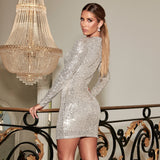 Silver Sequins Beige Mini Dress Full Sleeved O Neck Stretch Bodycon Short Night Party Dress