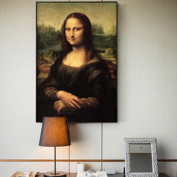 Mona Lisa Portrait Canvas Art Painting Reproductions Classical Da Vinci Famous Art Prints For Living Room