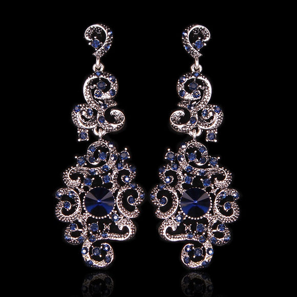 Indian Bridal Earrings Statement Long Dangle Drop Antique Vintage Earrings Retro Party