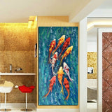 Wall Art Picture HD Print Chinese Abstract Nine Koi Fish Landscape Oil Painting on Canvas Poster