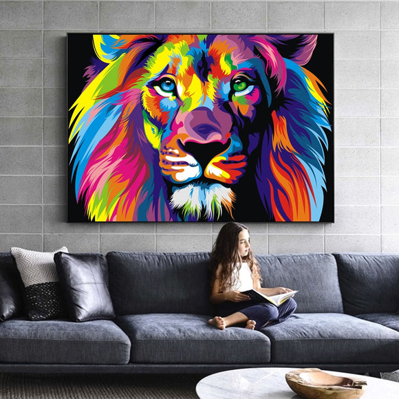 Watercolor Lion Pop Art Posters And Prints Abstract Animals Canvas Art Wall Paintings