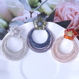 Luxury Flower Design Earrings Exaggeration Court Style Wedding Jewelry