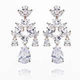 Luxury Water Drop CZ Earring for Women, Fashion Wedding Party Plating Brass Jewelry