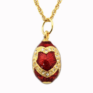 High Quality Danish Egg box with Red Heart Enamel necklace 2019 Fashion Luxury Jewelry