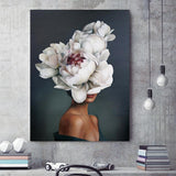Abstract portraits showing woman with white rose covered face, Canvas Art Prints