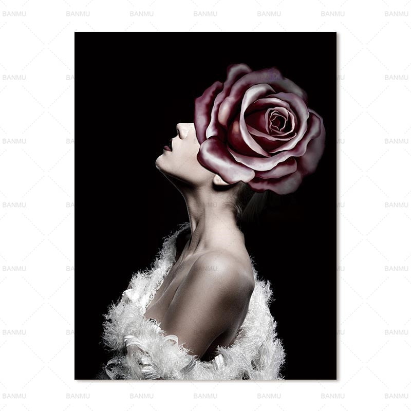 Abstract portraits showing women with rose covered faces Canvas Art Prints