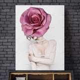 Abstract portraits showing woman with rose covered face, Canvas Art Prints