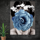 Abstract portraits showing woman with blue rose covered face, Canvas Art Prints