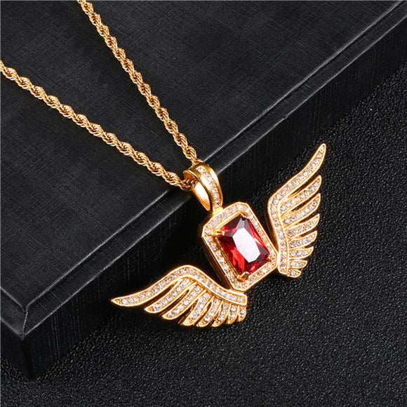 Luxury Bling Square Rhinestone Angel Wings Pendant Necklace Charm Jewelry Birthday Gift