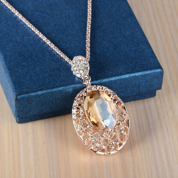 Luxury Rose Gold Sweater Chain Necklaces & Pendants Collier Femme Big Stone Long Necklaces for Women